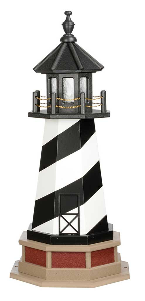 3' Amish Crafted Hybrid Garden Lighthouse - Cape Hatteras - Black & White