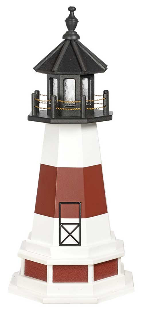 3' Amish Crafted Wood Garden Lighthouse w/ Base - Montauk - White & Cherrywood