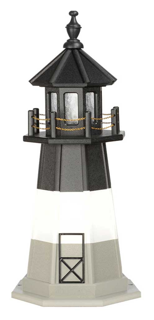 3' Amish Crafted Wood Garden Lighthouse - Oak Island - Black, White & Light Grey