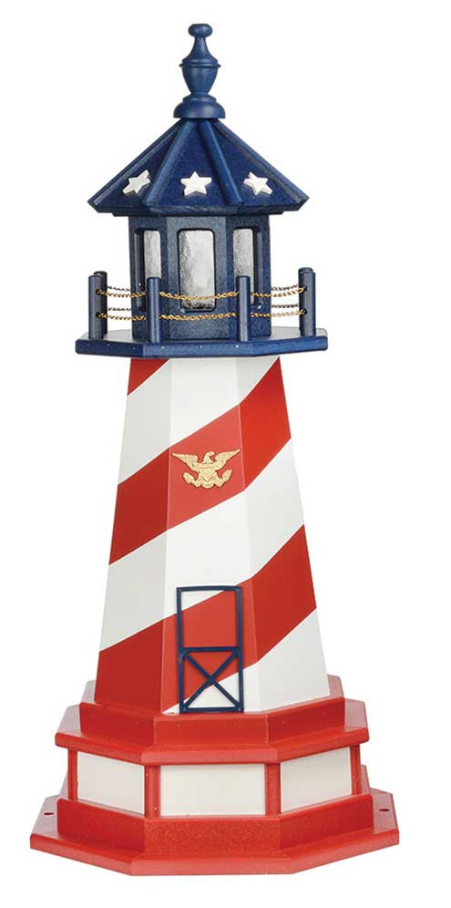 3' Amish Crafted Hybrid Garden Lighthouse - Patriotic Cape Hatteras