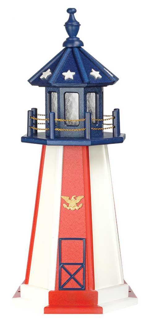 3' Patriotic Polywood Lighthouse - Patriotic