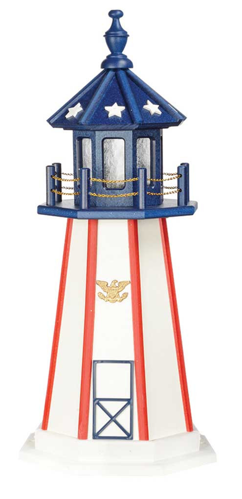 Amish Crafted Poly Garden Lighthouse - Patriotic on amish christmas decor, amish gardening tips, amish well covers, amish hutch plans, amish toys, amish duck houses, amish gifts, amish hay equipment, amish tractors, amish wooden garages, amish stoneware, amish fence posts, amish animals, amish plates, amish dinnerware, amish garage plans, amish tools, amish garden wagon, amish telephone booths,