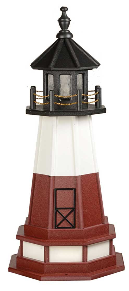 3' Amish Crafted Hybrid Garden Lighthouse - Vermillion - Black, White & Cherrywood