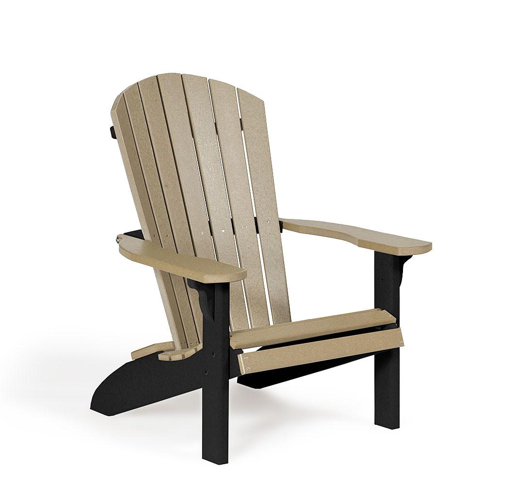 Fan Back Polywood Adirondack Chair - Weatherwood & Black