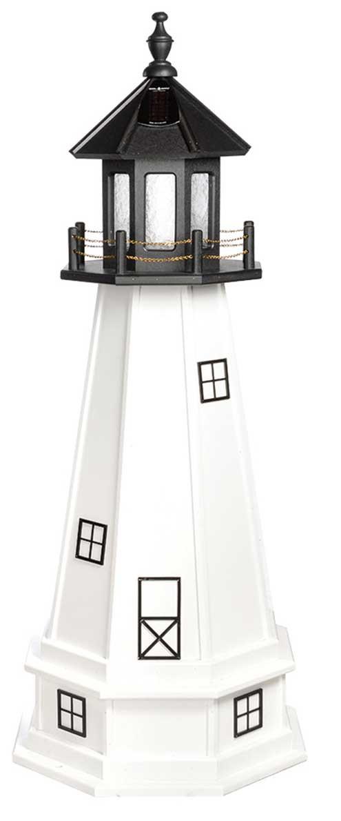 4' Amish Crafted Wood Garden Lighthouse w/ Base - Cape Cod & Cape Florida - Black & White
