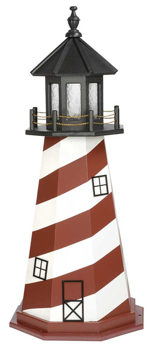 4' Amish Crafted Wood Garden Lighthouse - Cape Hatteras - Cherrywood & White