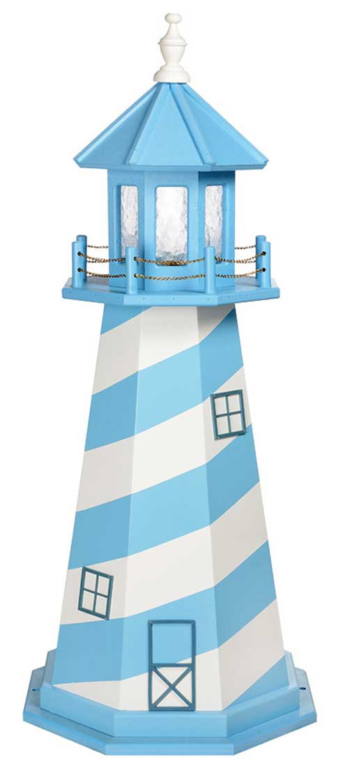 4' Amish Crafted Wood Garden Lighthouse - Cape Hatteras - Aruba Blue & White