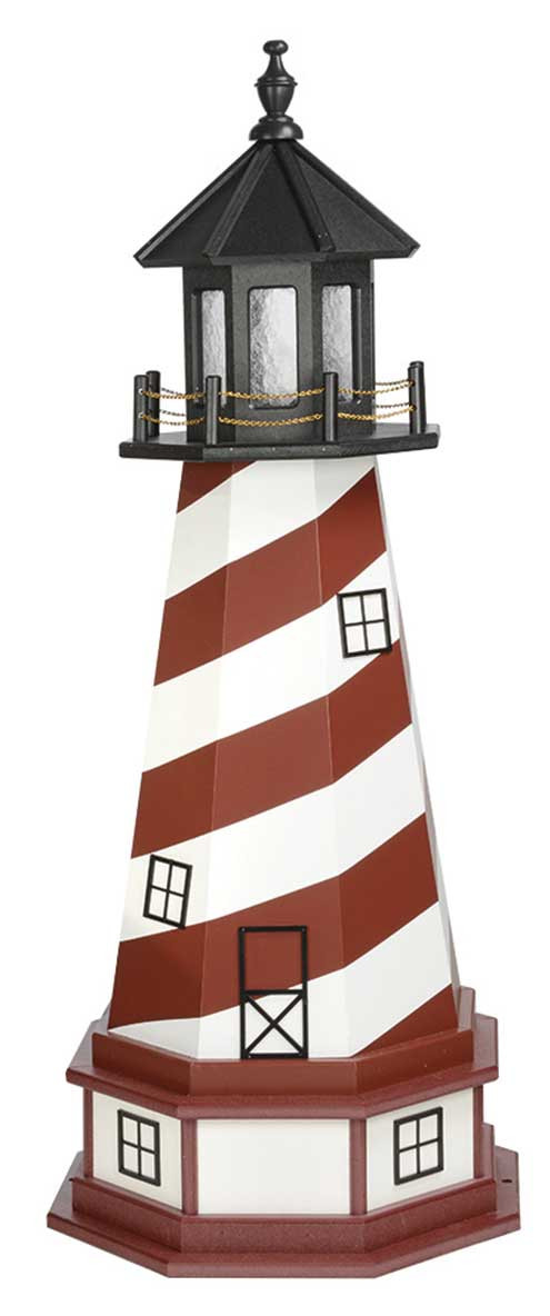 4' Amish Crafted Hybrid Garden Lighthouse - Cape Hatteras - Cherrywood & White