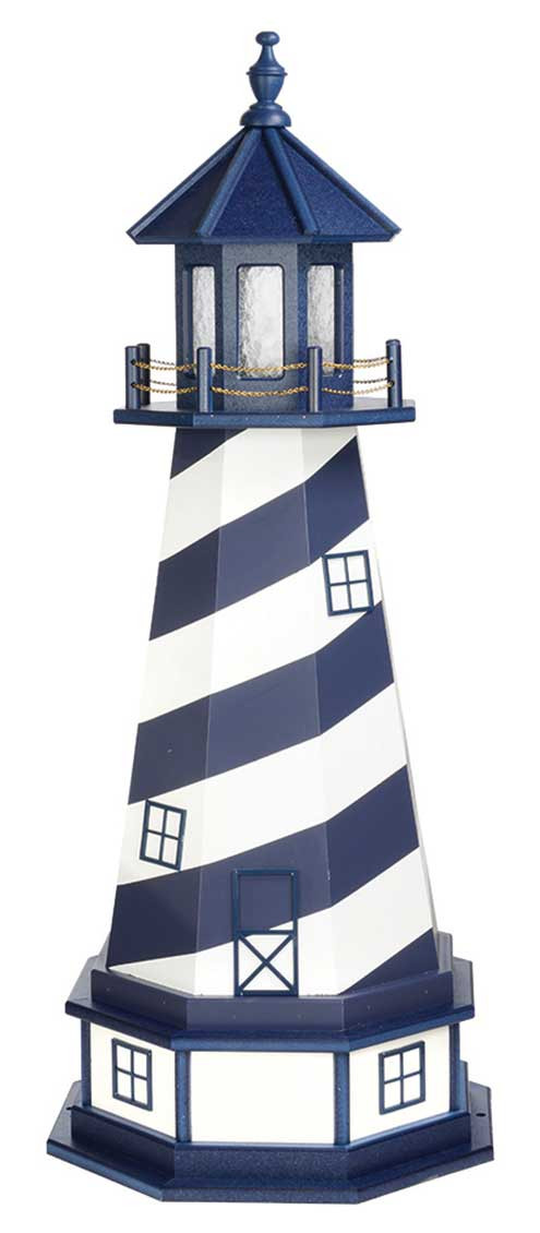 4' Amish Crafted Hybrid Garden Lighthouse - Cape Hatteras - Patriot Blue & White