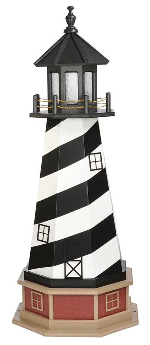 4' Amish Crafted Wood Garden Lighthouse w/ Base - Cape Hatteras - Black & White