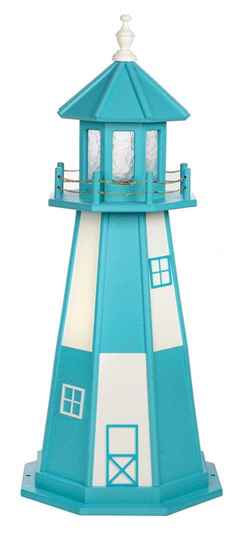 4' Cape Henry Polywood Lighthouse - Aruba Blue & White