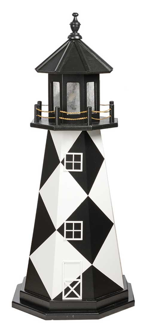4' Amish Crafted Wood Garden Lighthouse - Cape Lookout - Black & White