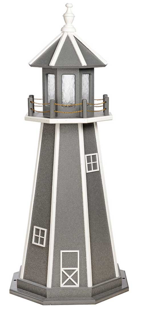 4' Amish Crafted Wood Garden Lighthouse - Custom Painted - Dark Grey & White