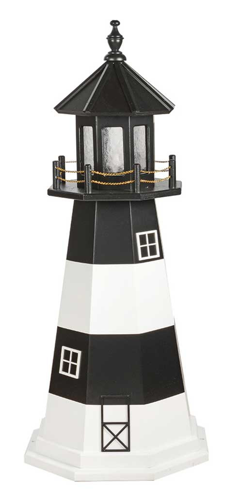 4' Amish Crafted Wood Garden Lighthouse - Fire Island - Black & White
