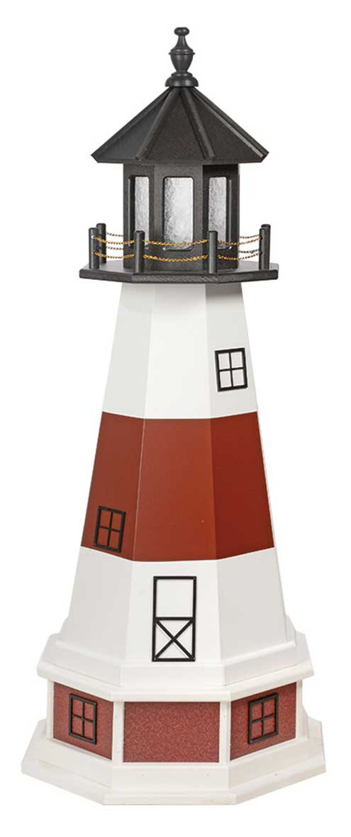 4' Amish Crafted Wood Garden Lighthouse w/ Base - Montauk - White & Cherrywood