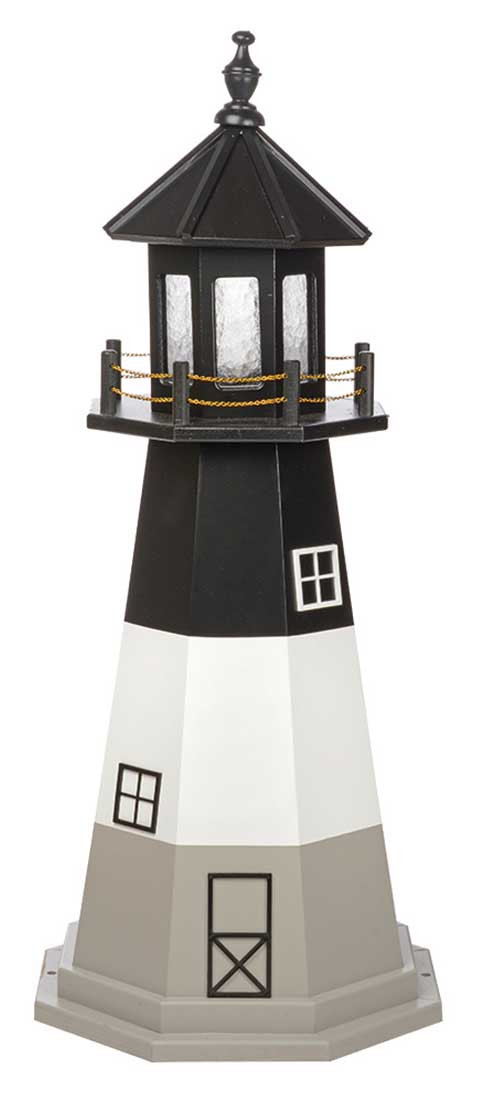 4' Amish Crafted Wood Garden Lighthouse - Oak Island - Black, White & Light Grey