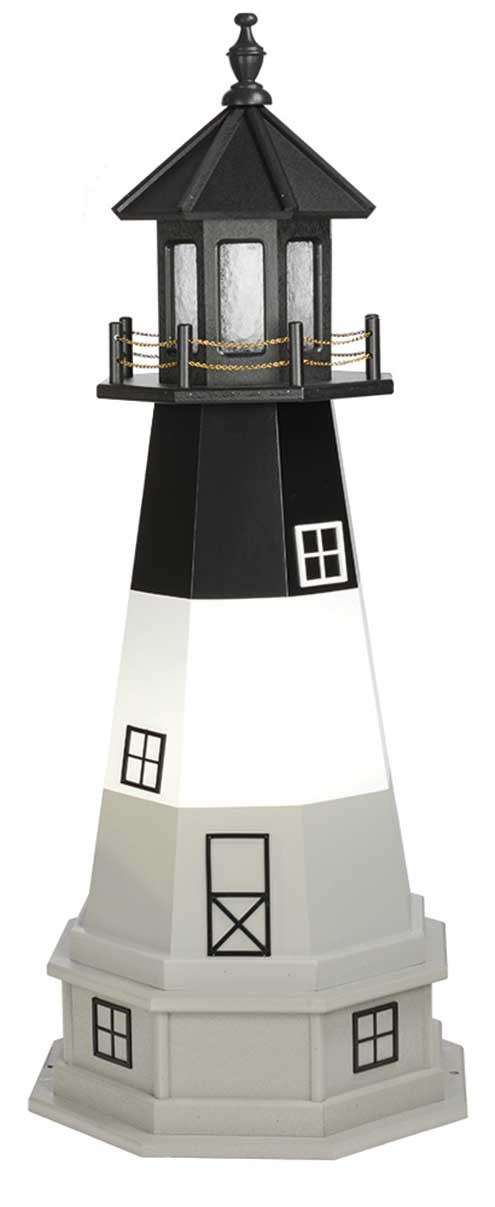 4' Amish Crafted Wood Garden Lighthouse w/ Base - Oak Island - Black, White & Light Grey