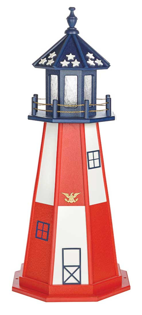 4' Amish Crafted Wood Garden Lighthouse - Cape Henry
