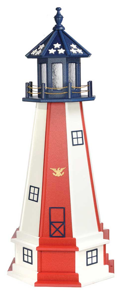 4' Patriotic Polywood Lighthouse with Base - Patriotic