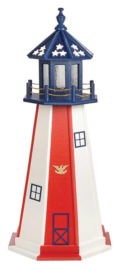 4' Patriotic Polywood Lighthouse - Patriotic