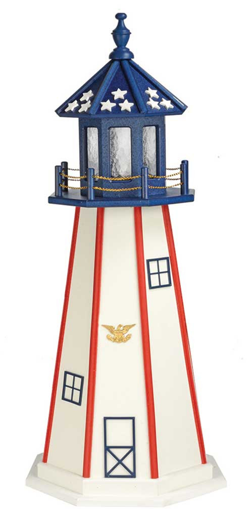4' Patriotic Polywood Lighthouse - Standard