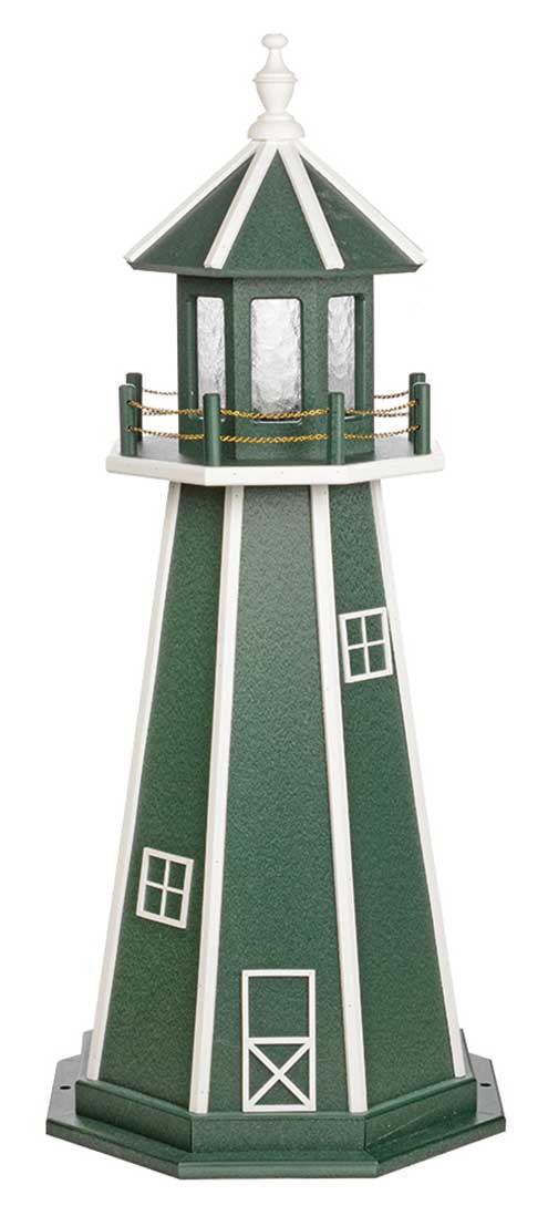 4' Amish Crafted Wood Garden Lighthouse - Custom Painted - Turf Green & White
