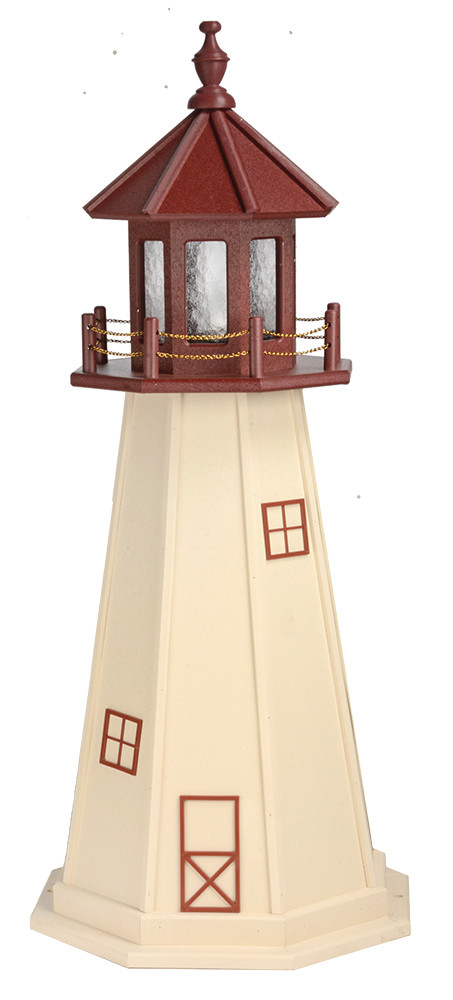 4' Amish Crafted Wood Garden Lighthouse - Cape May - Ivory & Cherrywood
