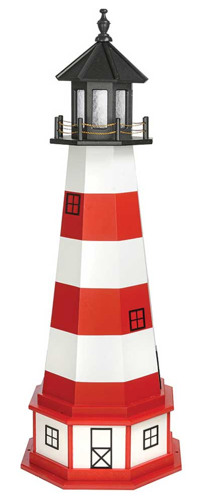 5' Amish Crafted Wood Garden Lighthouse w/ Base - Assateague - Cardinal Red & White