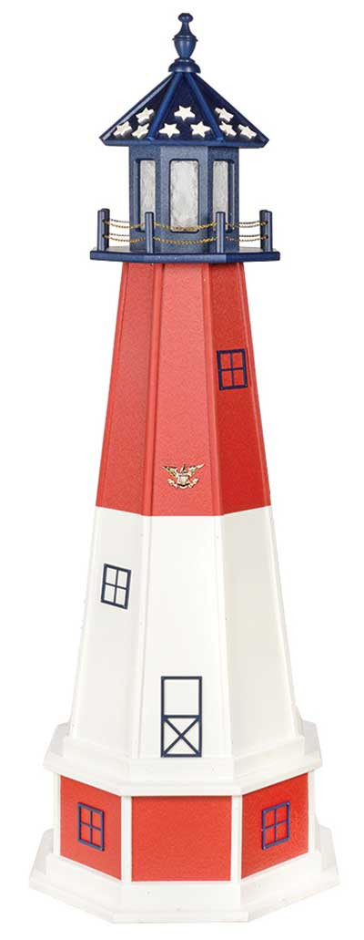 5' Patriotic Polywood Lighthouse with Base - Barnegat