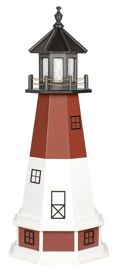 5' Amish Crafted Wood Garden Lighthouse w/ Base - Barnegat  - Cherrywood & White