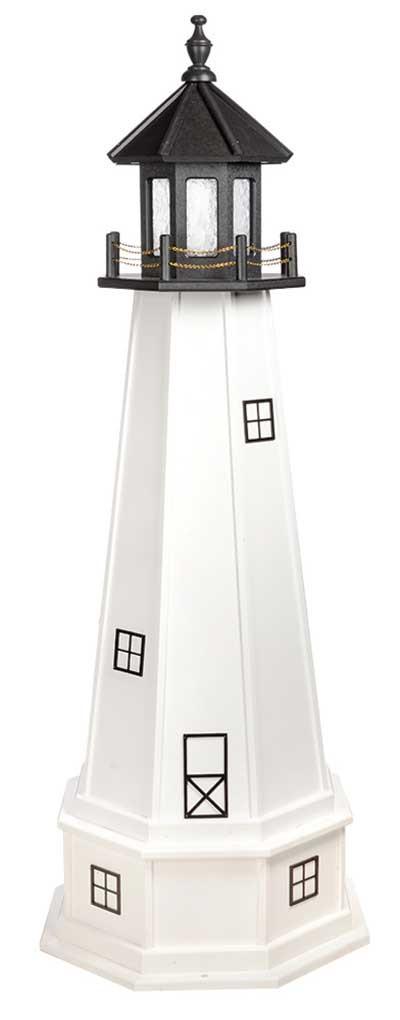 5' Amish Crafted Wood Garden Lighthouse w/ Base - Cape Cod & Cape Florida - Black & White