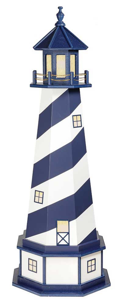 5' Amish Crafted Hybrid Garden Lighthouse - Cape Hatteras - Patriot Blue & White