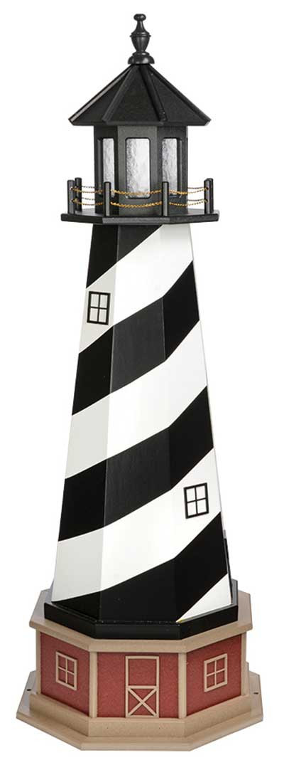 5' Amish Crafted Hybrid Garden Lighthouse - Cape Hatteras - Black & White