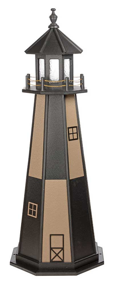 5' Amish Crafted Wood Garden Lighthouse - Cape Henry - Black & Weatherwood