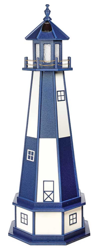 5' Amish Crafted Wood Garden Lighthouse w/ Base - Cape Henry - Patriot Blue & White