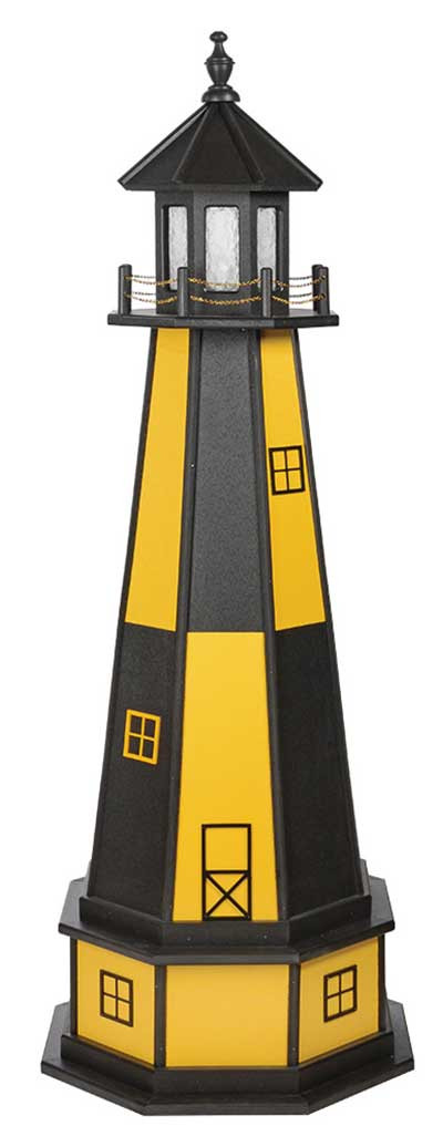 5' Cape Henry Polywood Lighthouse with Base - Yellow & Black