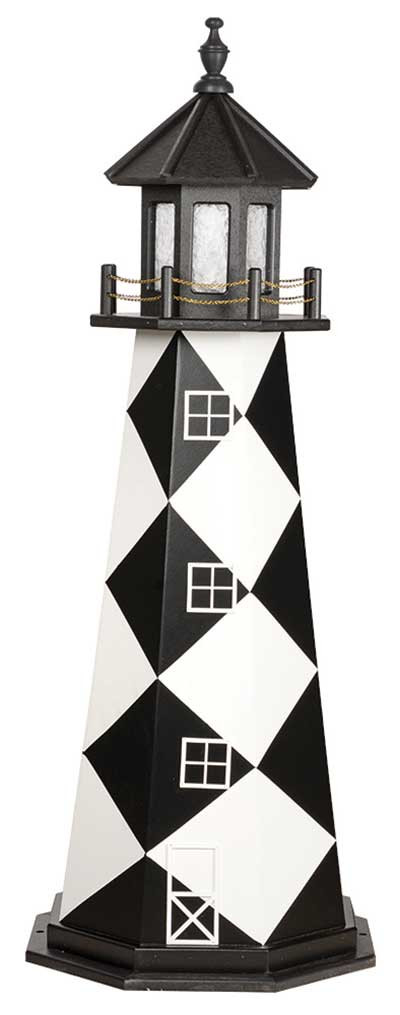 5' Amish Crafted Wood Garden Lighthouse - Cape Lookout - Black & White