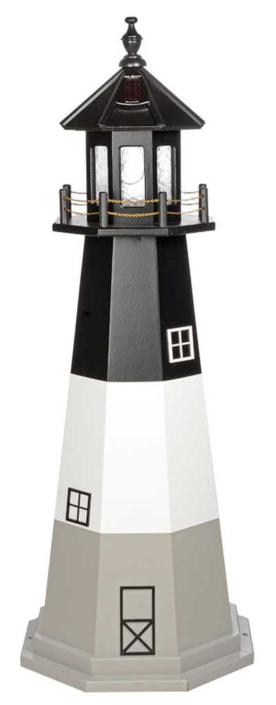 5' Amish Crafted Wood Garden Lighthouse w/ Base - Oak Island - Black, White & Light Grey