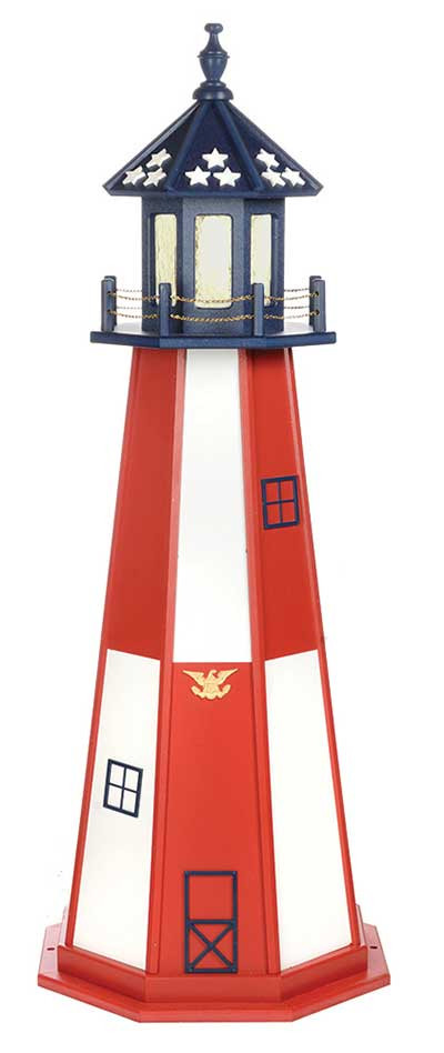 5' Amish Crafted Wood Garden Lighthouse - Cape Henry