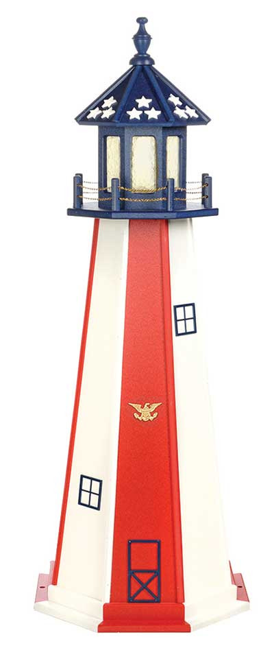 5' Patriotic Polywood Lighthouse - Patriotic