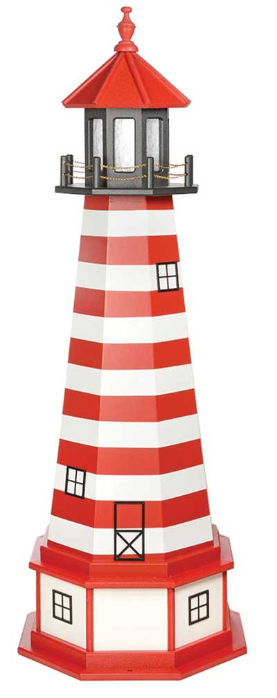 5' West Quoddy Wooden Lighthouse with Base