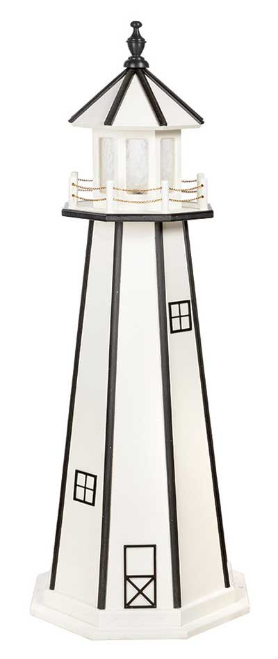 5' Amish Crafted Wood Garden Lighthouse - Custom Painted - White & Black