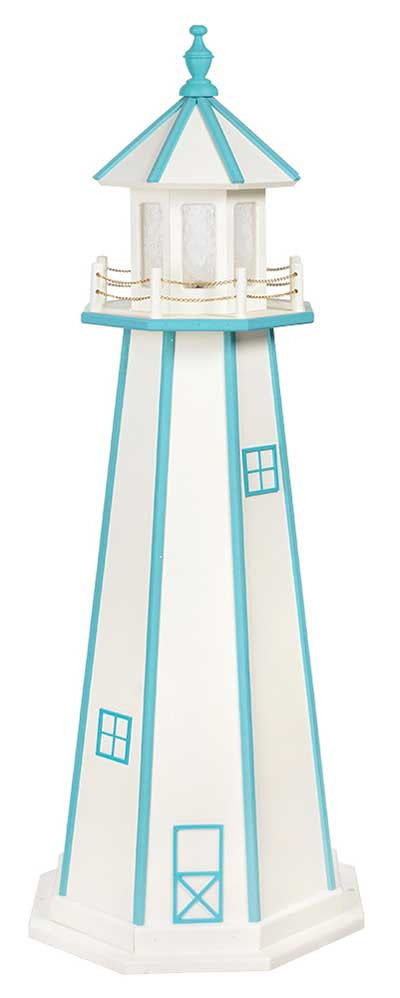 5' Amish Crafted Wood Garden Lighthouse - Custom Painted - White & Powder Blue
