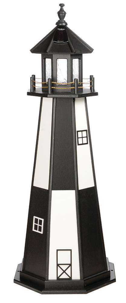 5' Amish Crafted Wood Garden Lighthouse - Cape Henry - Black & White