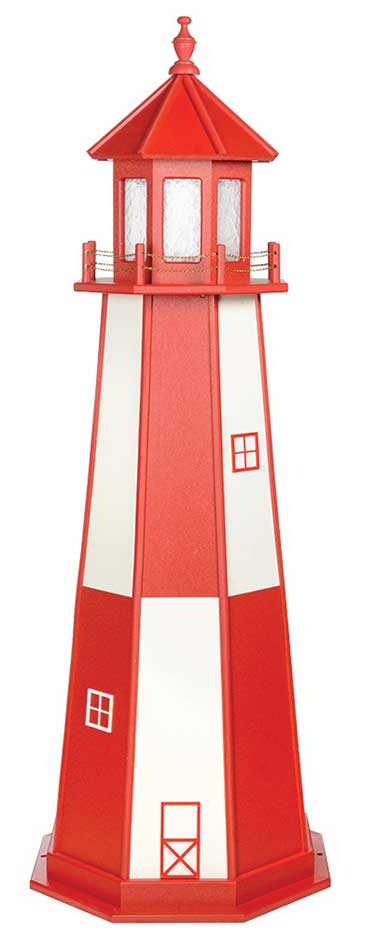 6' Amish Crafted Wood Garden Lighthouse - Cape Henry - Cardinal Red & White
