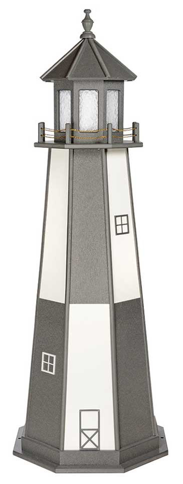 6' Amish Crafted Wood Garden Lighthouse - Cape Henry - Dark Grey & White