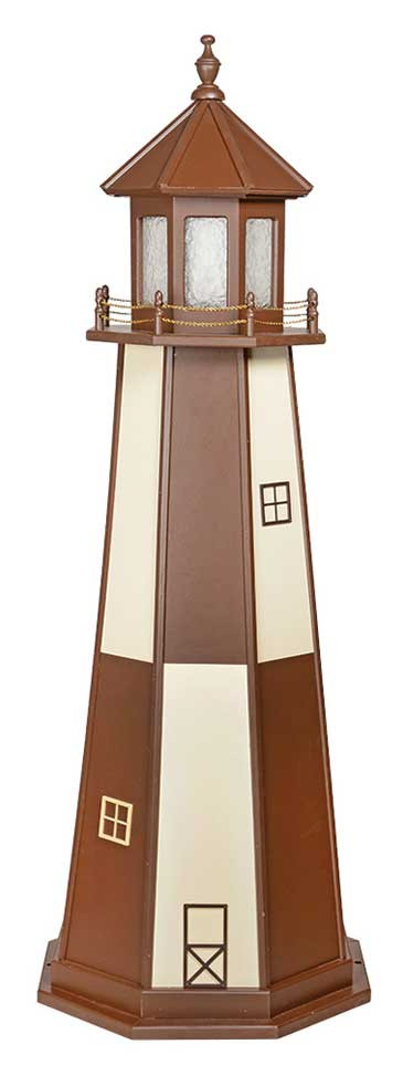 6' Amish Crafted Wood Garden Lighthouse - Cape Henry - Ivory & Brown