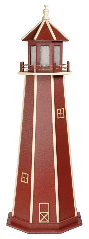 6' Amish Crafted Wood Garden Lighthouse - Custom Painted - Cherrywood & White