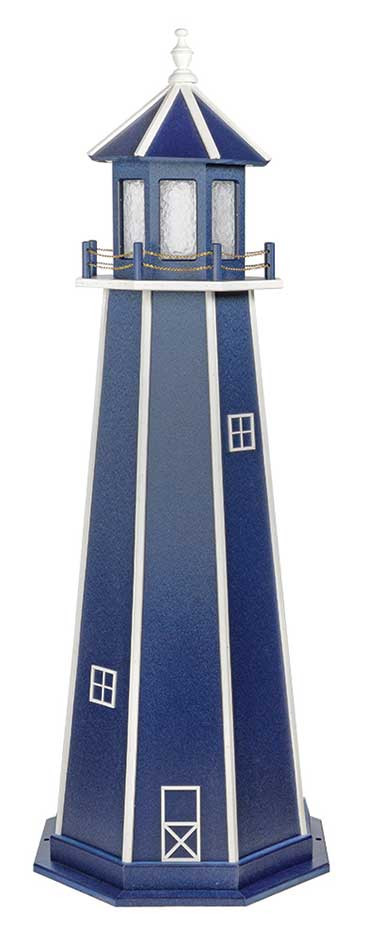 6' Amish Crafted Wood Garden Lighthouse - Custom Painted -  Patriot Blue & White