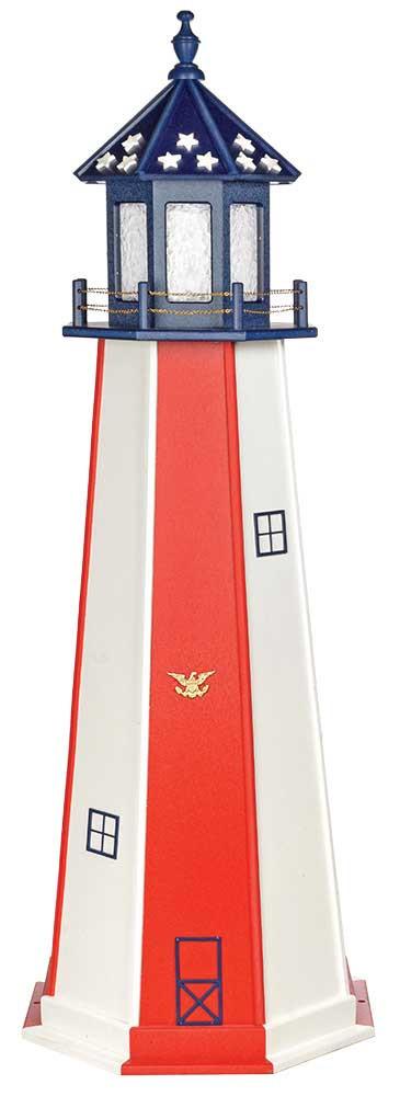 6' Patriotic Polywood Lighthouse - Patriotic